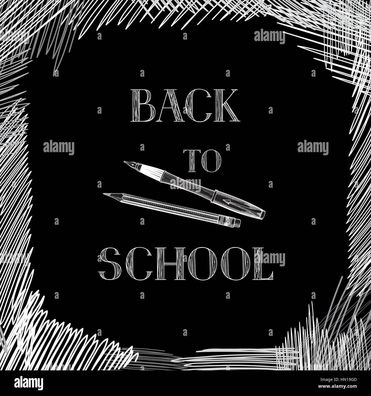 Back to school. Chalkboard background. Hand drawn message written over blackboard. Vector. - Stock Vector