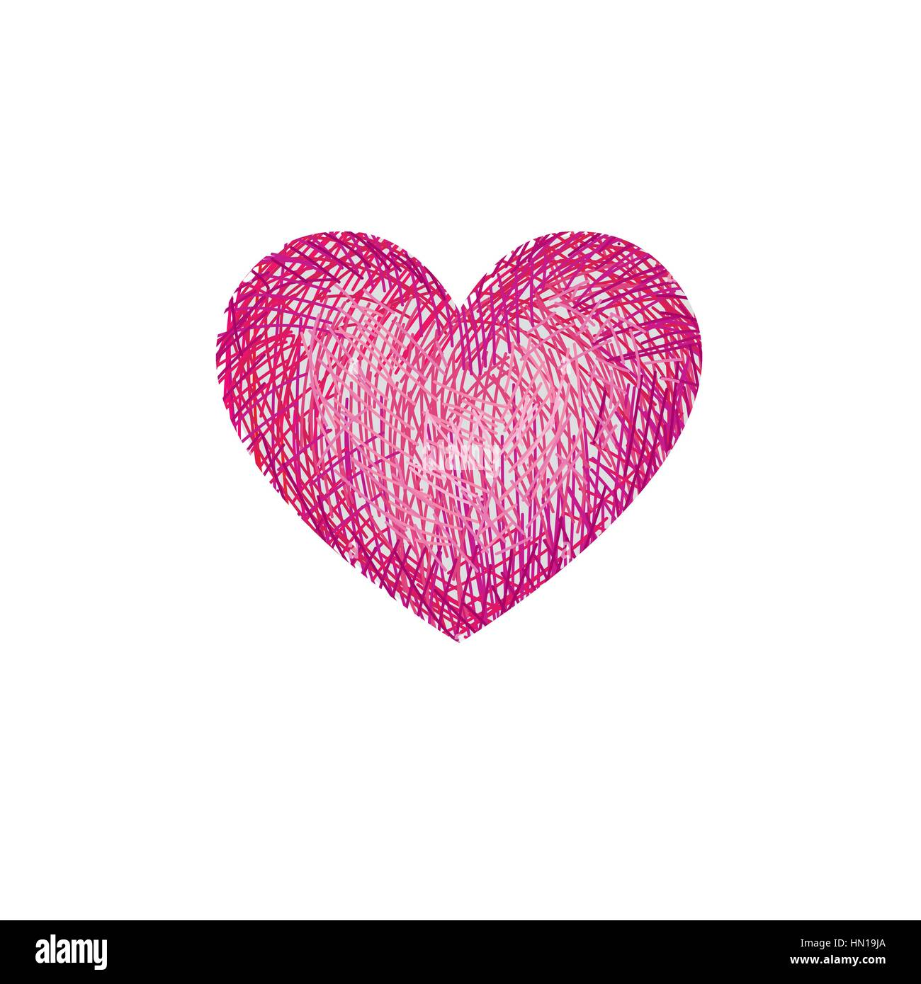 Red pencil drawing love heart isolated over white background