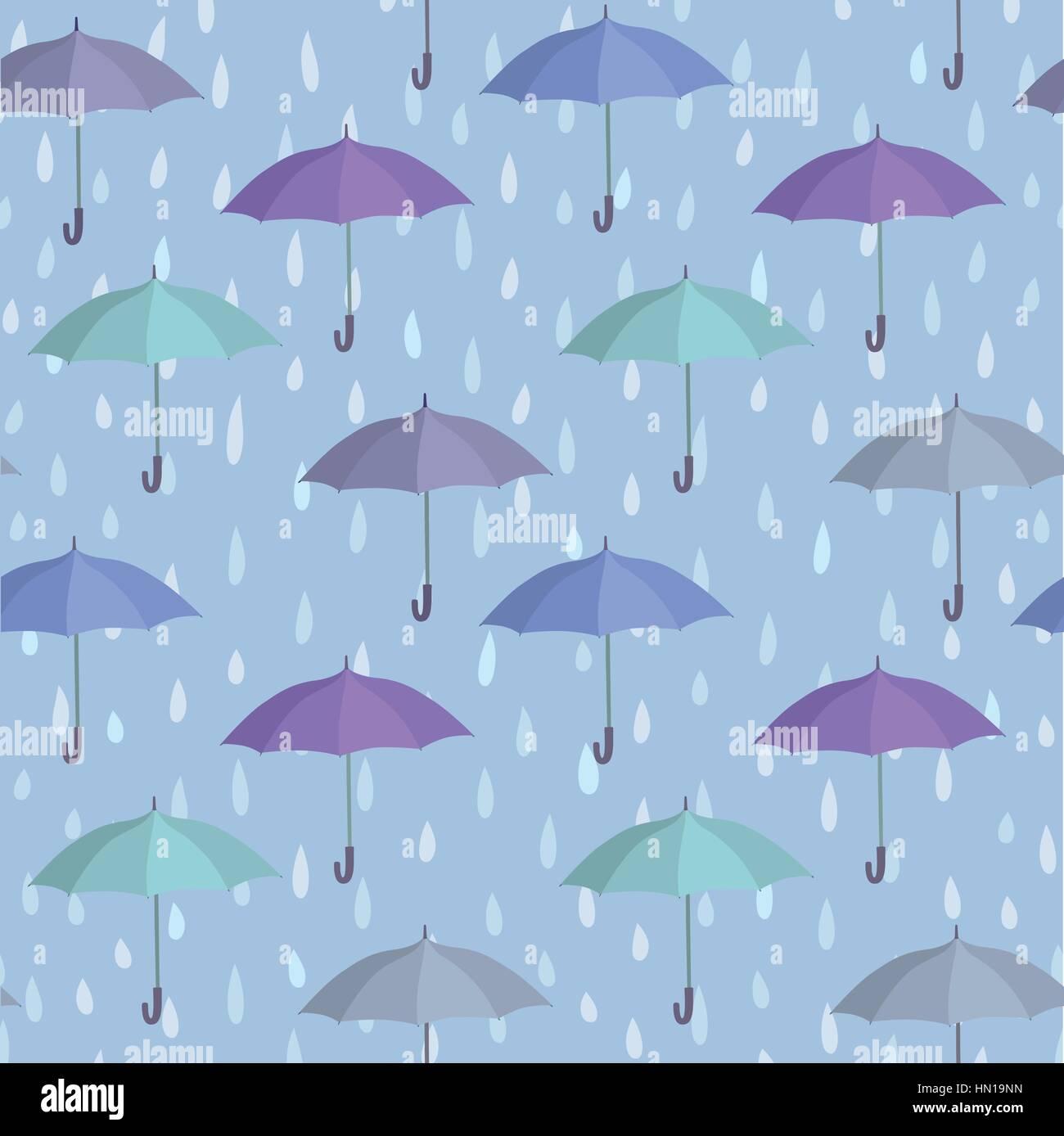 Umbrella Over Raindrop Background Rainstorm Seamless Pattern Rainy Weather Ornament Water Drops Tiled Wallpaper