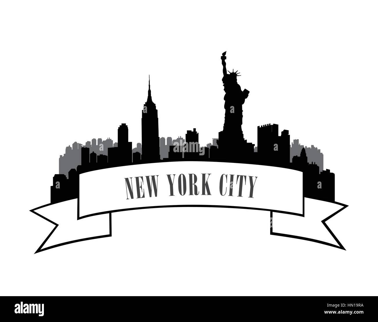 New York, USA skyline sketch. NYC city silhouette with Liberty monument. City silhouette Skyline. Panorama city - Stock Image