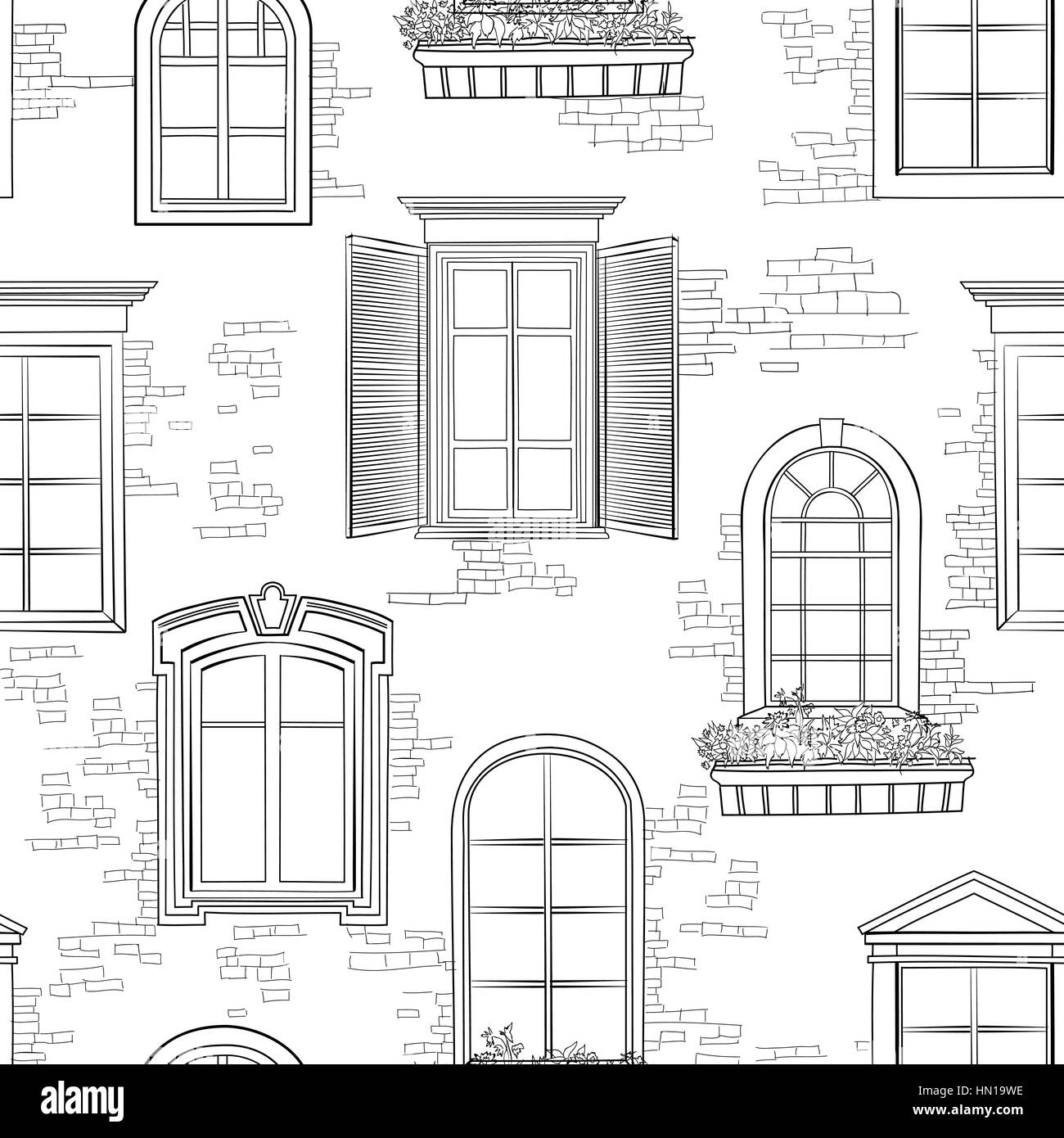 window pattern different architectural style of windows doodle sketch HN19WE window pattern different architectural style of windows doodle