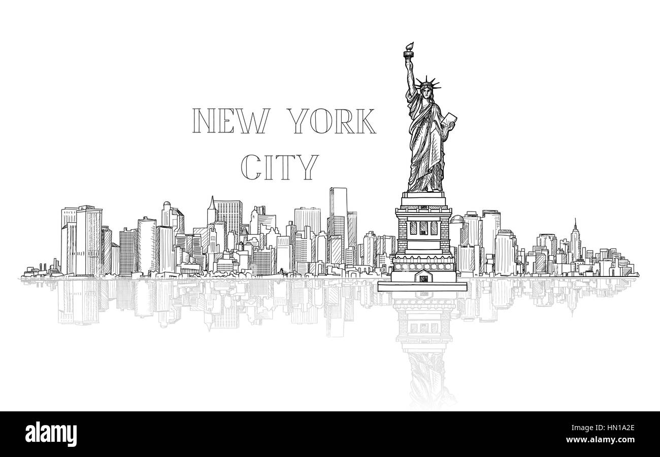 New York, USA skyline background. City silhouette engraving with Liberty monument. American landmarks. Urban  architectural - Stock Image