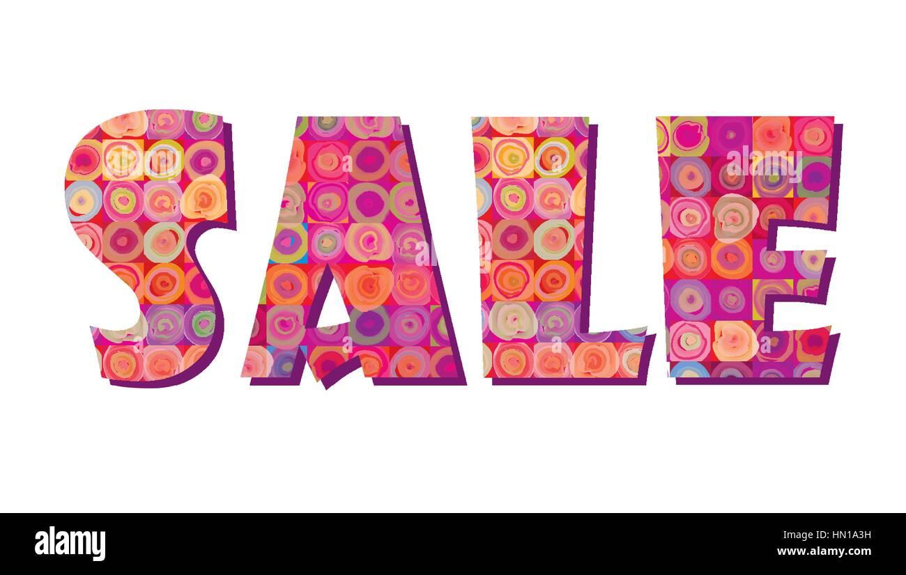 Sale banner. Big summer sale skicker over pink background - Stock Image