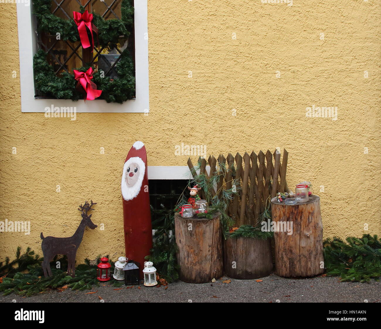 Signs outside a home that the family celebrates the annual Christian festival of Christmas image with copy space - Stock Image