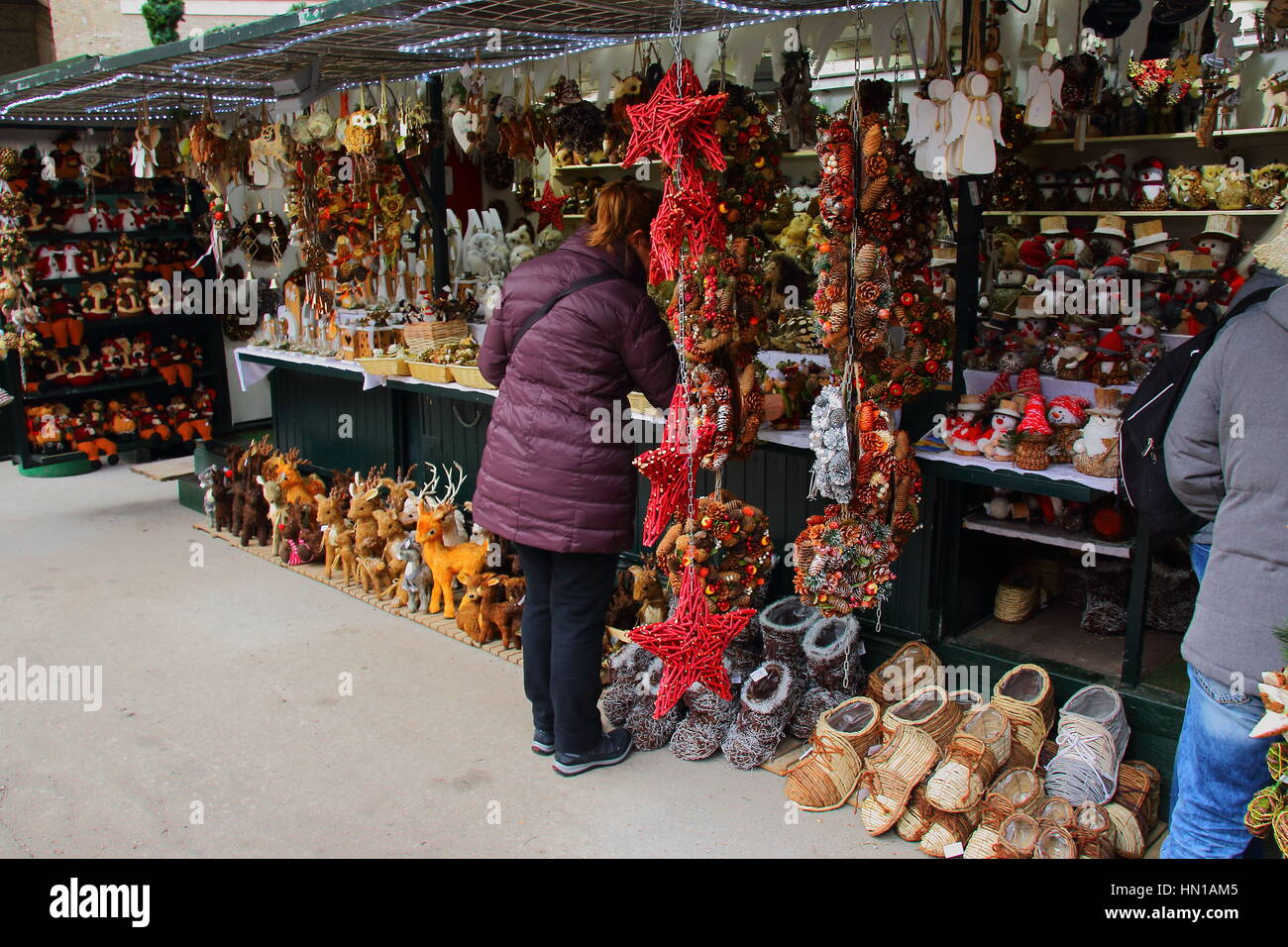Christmas markets in Europe are an annual celebration image in landscape format with copy space - Stock Image