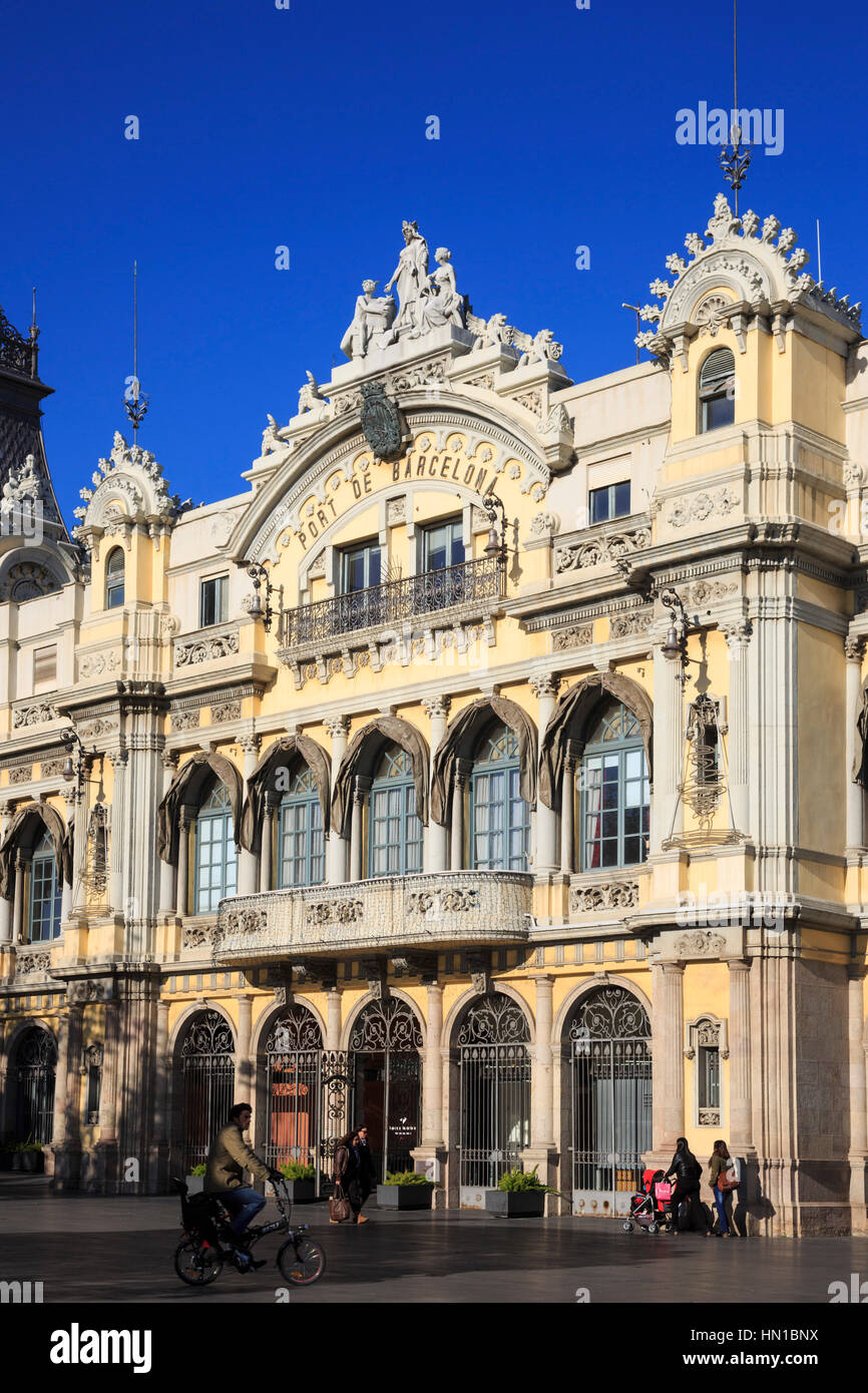 Old Barcelona Port Authority building (Port de Barcelona), Barcelona, Catalonia, Spain - Stock Image