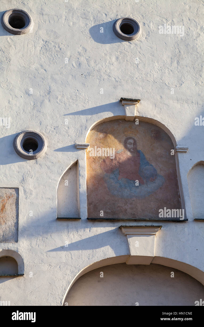 Details of exterior. Ausros gate (gate of dawn) with basilica of Madonna Ostrobramska in Vilnius, Lithuania - Stock Image