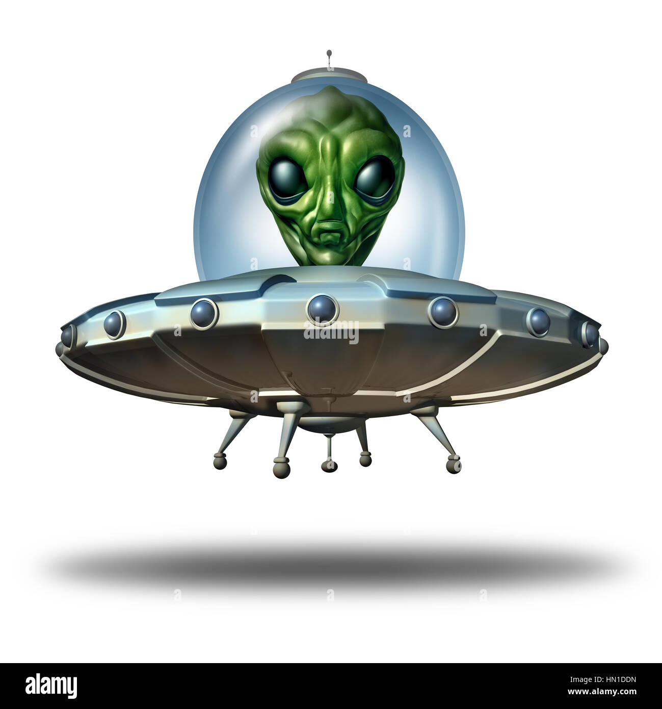 Alien in a flying saucer as a UFO visitor in a spaceship or spacecraft and extraterrestrial martian green creature - Stock Image