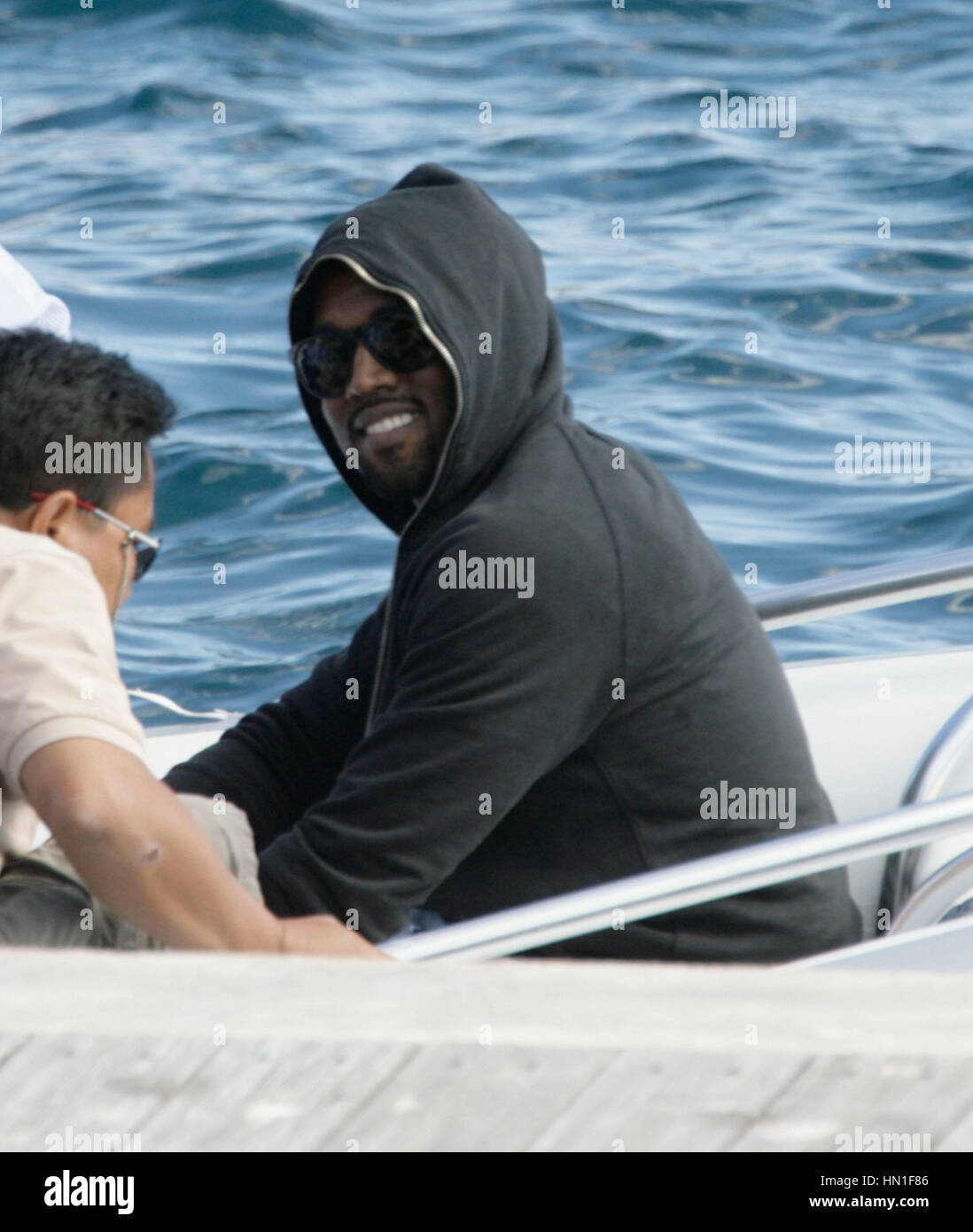 Kanye West at the Hotel Du Cap dock on Antibes, France on May 17, 2011. Photo by Francis Specker - Stock Image