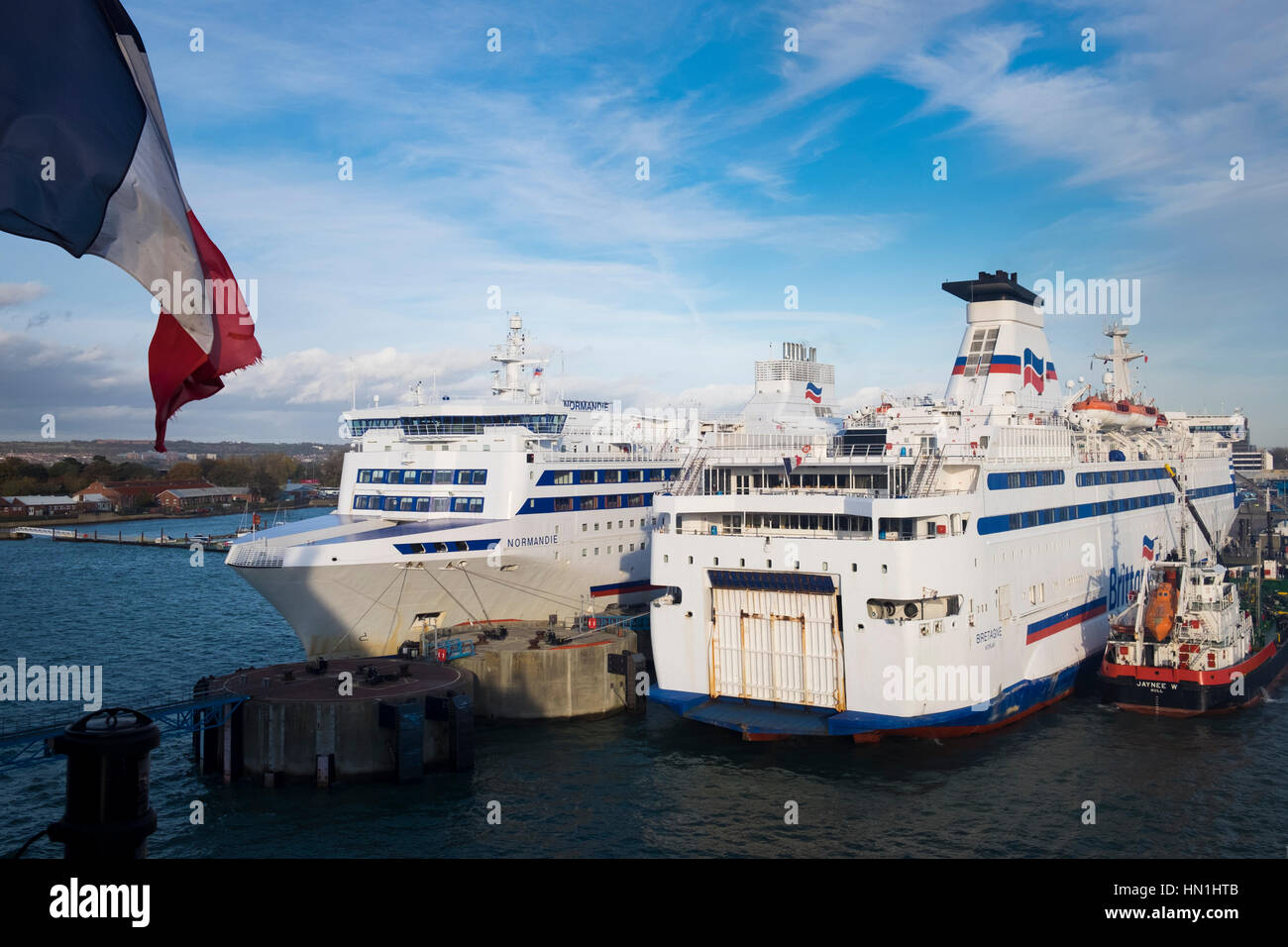 Brittany Ferries boats Bretange and Normandie tied up in Portsmouth Harbour Stock Photo