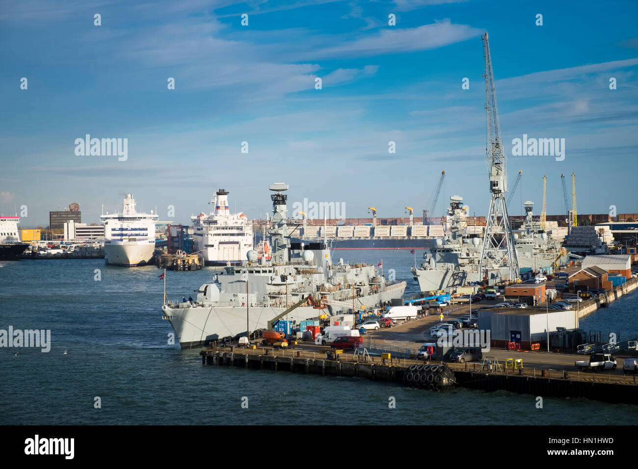 British Navy ships tied up in Portsmouth Harbour navy base - Stock Image