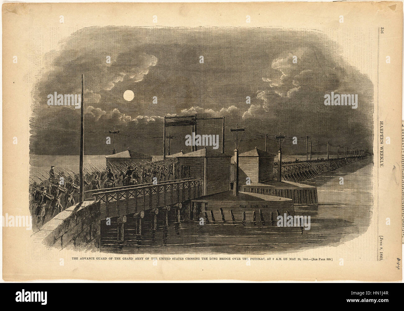 Winslow Homer -   The advance guard of the Grand Army of the United States crossing the Long Bridge over the Potomac, - Stock Image