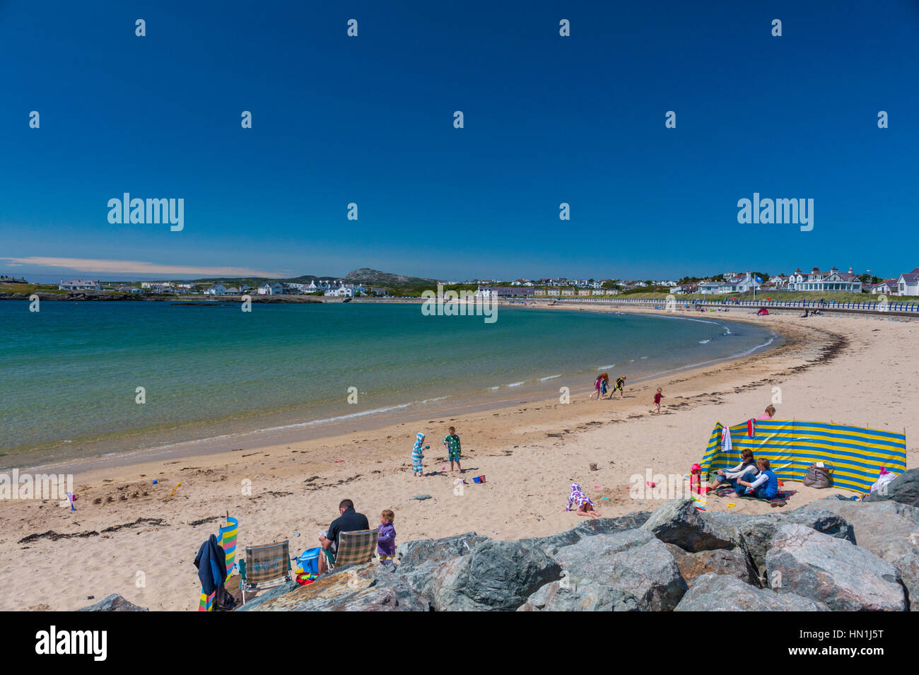 The beach at Trearddur bay on Holy island of Anglesey wales - Stock Image
