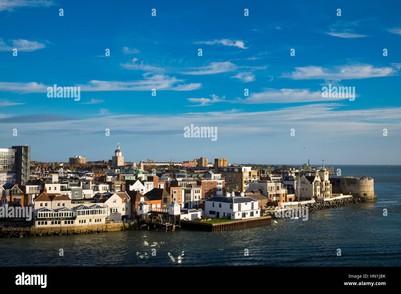 Old Portsmouth and the Round Tower at te entrance to Portsmouth Harbour Stock Photo