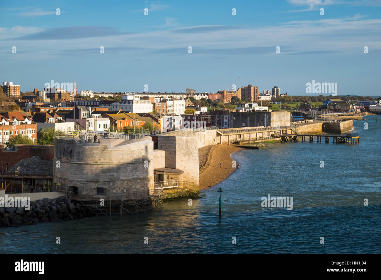 The Round Tower and the Square Tower at the entrance to Portsmouth Harbour Stock Photo