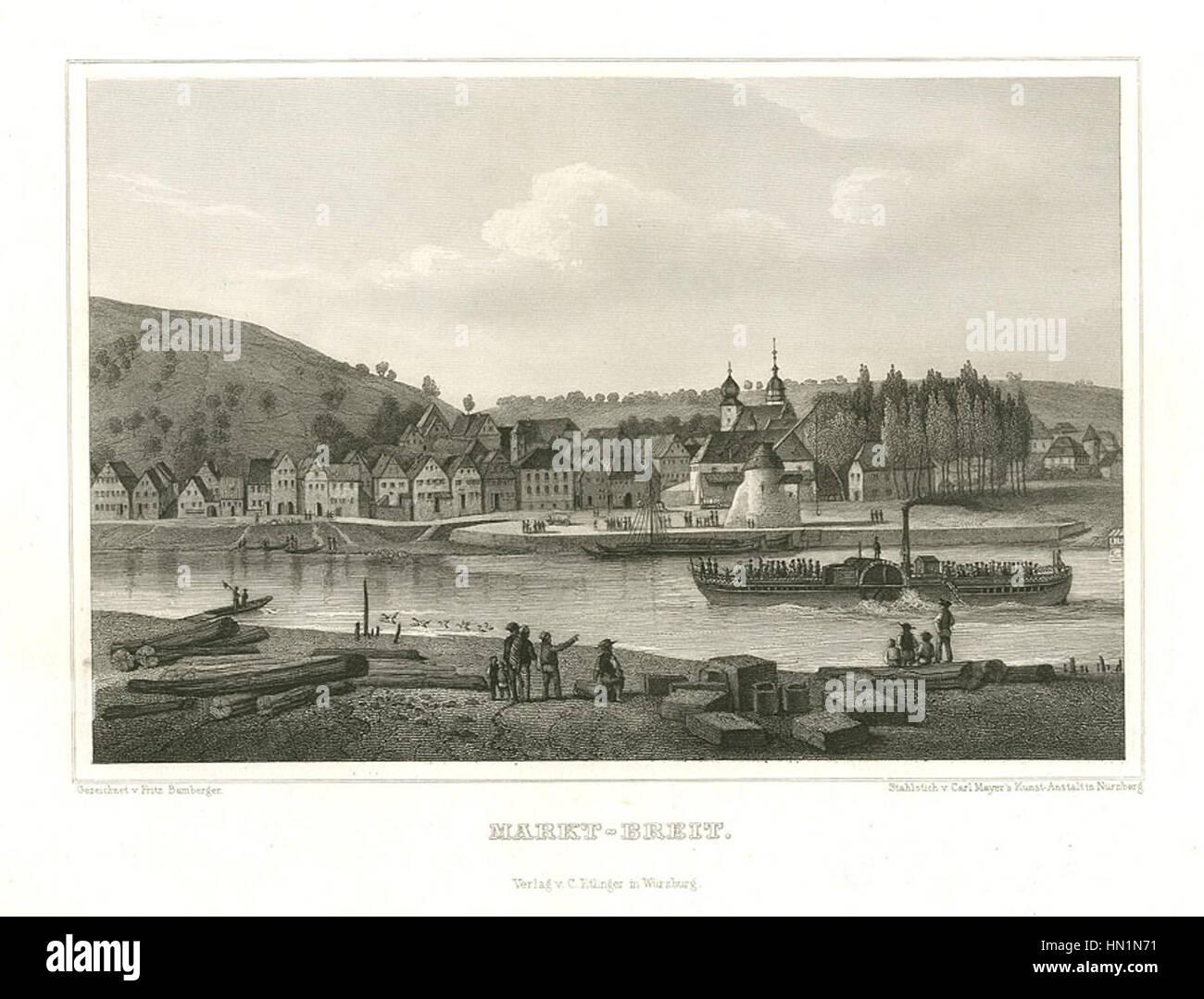Marktbreit Stahlstich 1847 - Stock Image