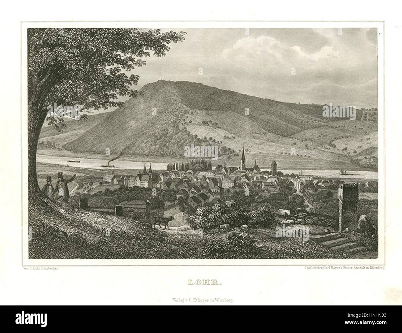 Lohr Stahlstich 1847 - Stock Image