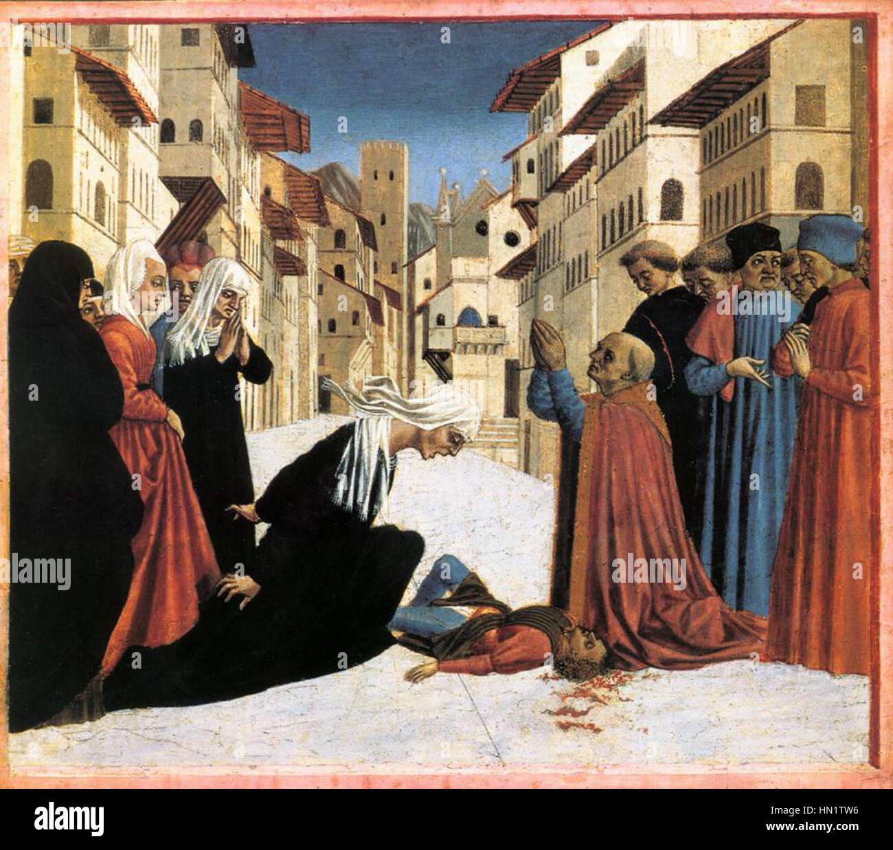 Miracle of saint zenobius, fitzwilliam museum, Cambridge - Stock Image