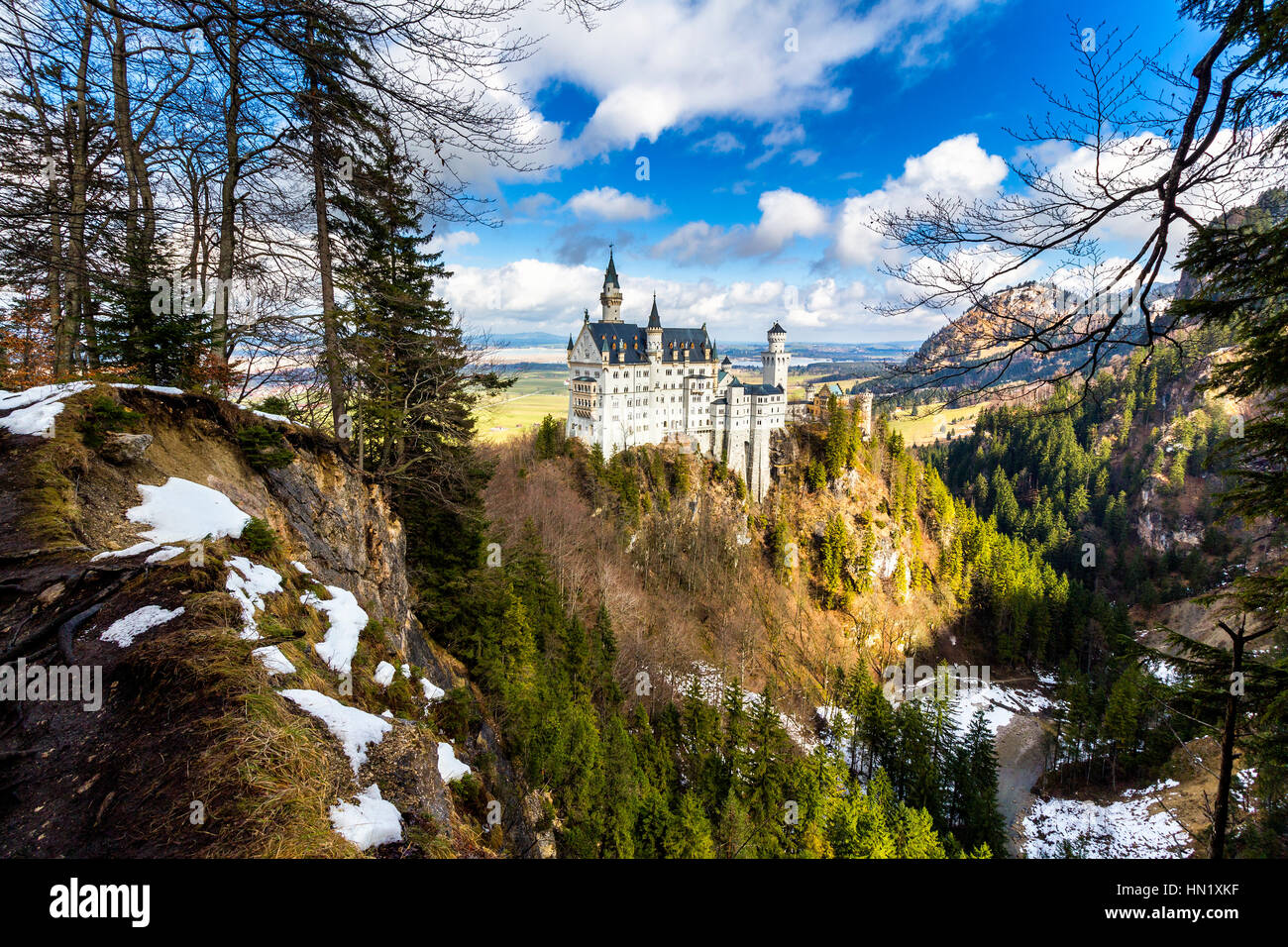 Neuschwanstein Castle the famous castle in Germany located in Fussen, Bavaria, Germany - Stock Image