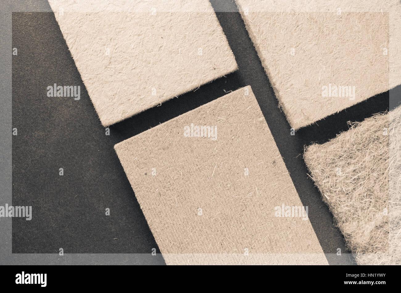 compressed thermal insulating hemp fiber panels - raw industrial materials - Stock Image