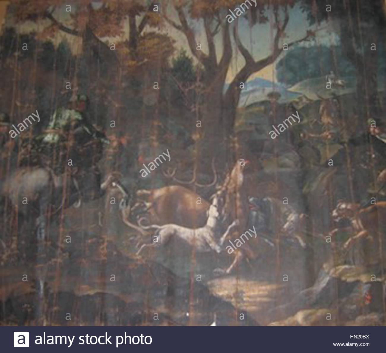 Lov na jelena s psi (18. st.) - Stock Image