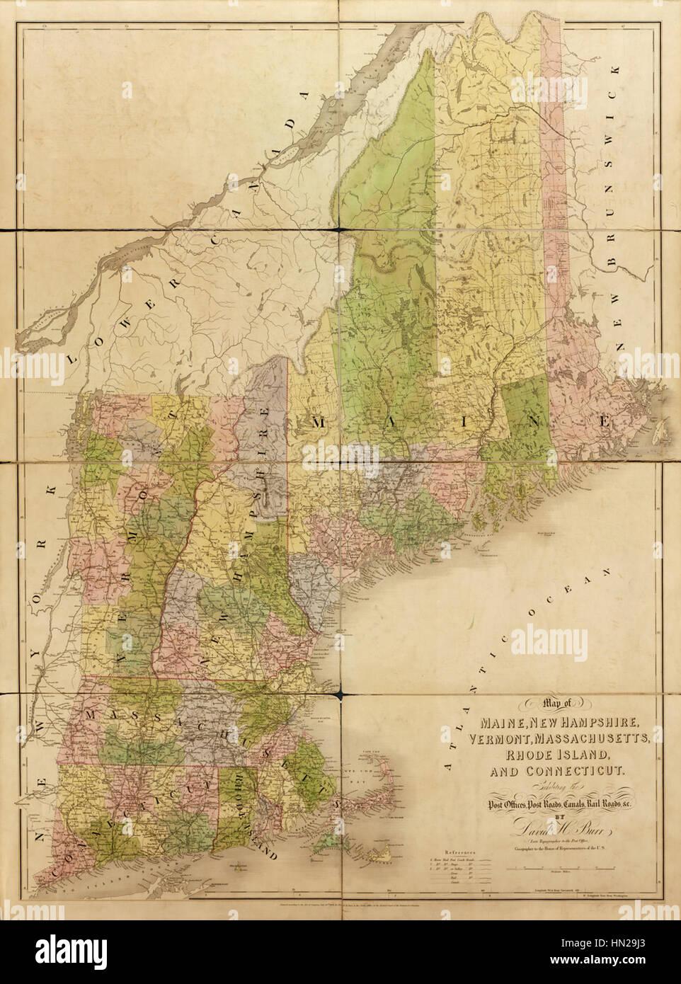 Map of Maine, New Hampshire, Vermont, Massachusetts, Rhode Island ...