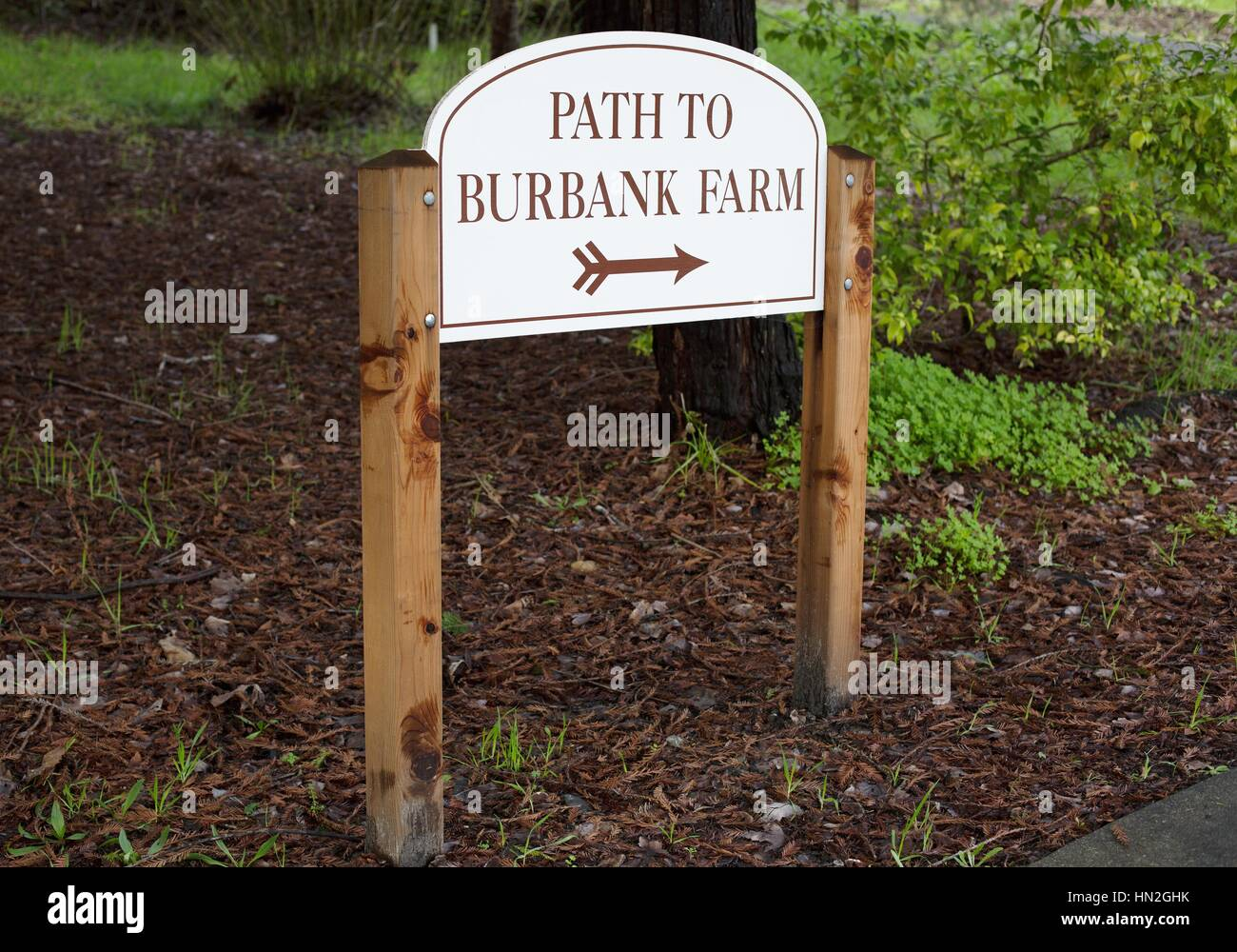 A sign pointing to the Luther Burbank Experimental Farm in Sebastopol, California. - Stock Image