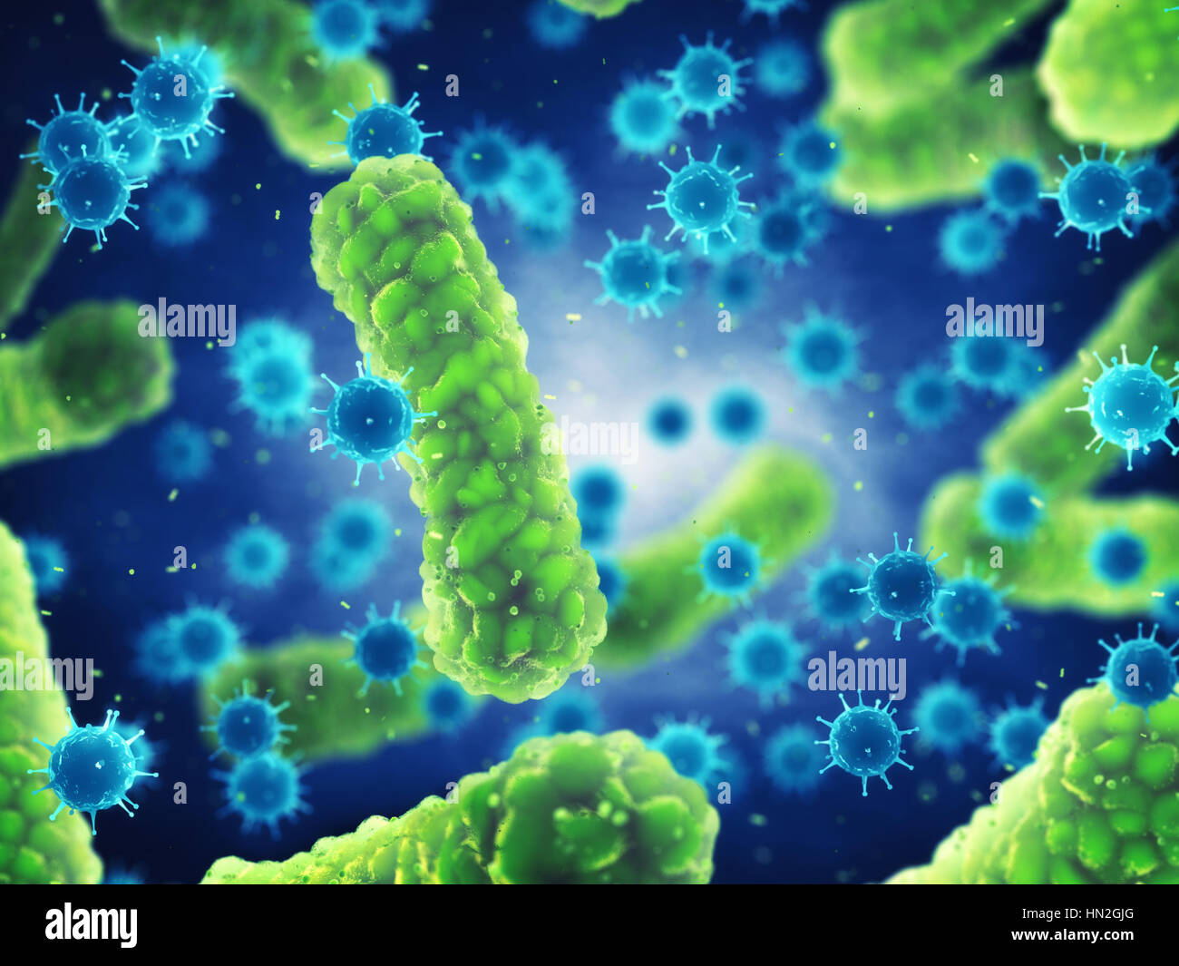 Pathogenic bacteria and viruses , Microscopic germs that cause infectious diseases , Viral and bacterial infection - Stock Image