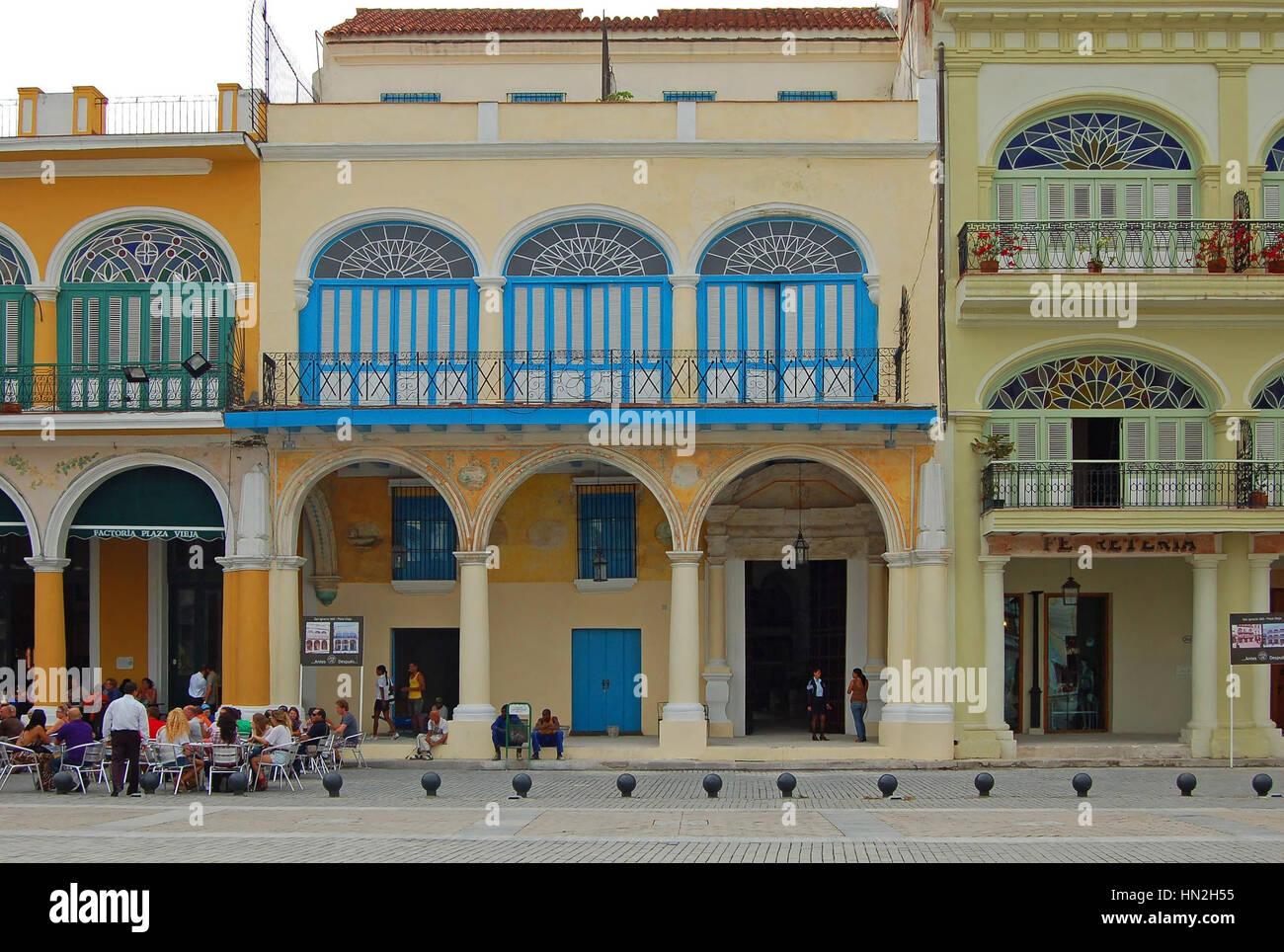 Facade of Casa del Conde de Lombillo in Plaza Vieja, Havana, Cuba Stock Photo