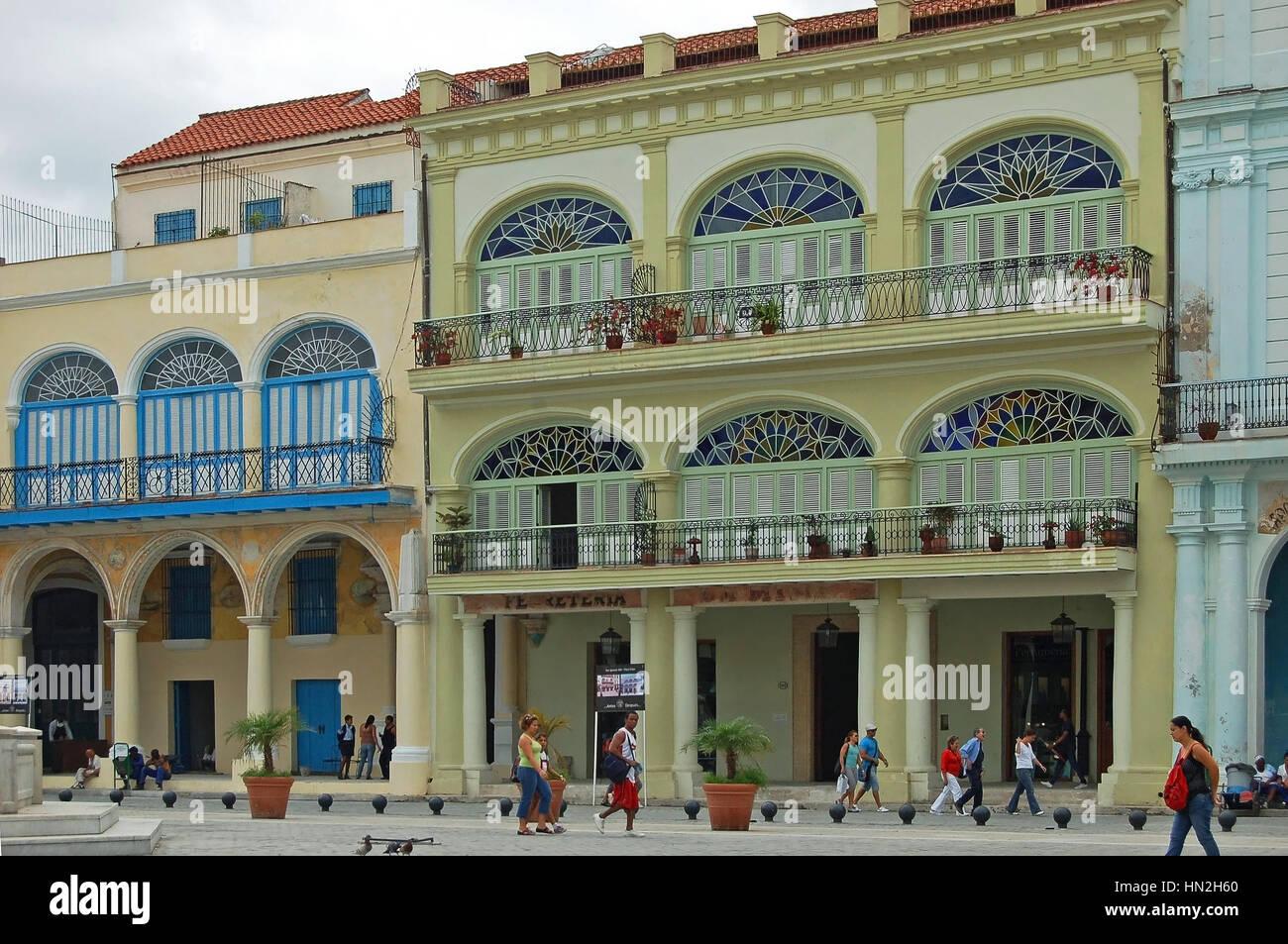 Facade of Casa de Manuel Antuve in Plaza Vieja, Old Havana, Cuba Stock Photo