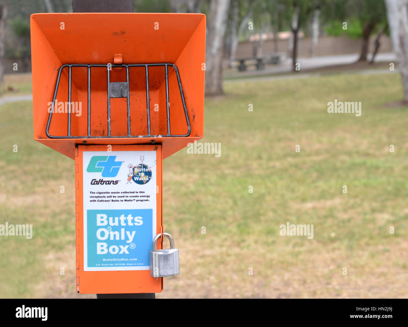 Interstate 80 near Red Bluff, California, USA, 6 May 2016.  Caltrans Butts only box. Most rest stops along I-80 - Stock Image