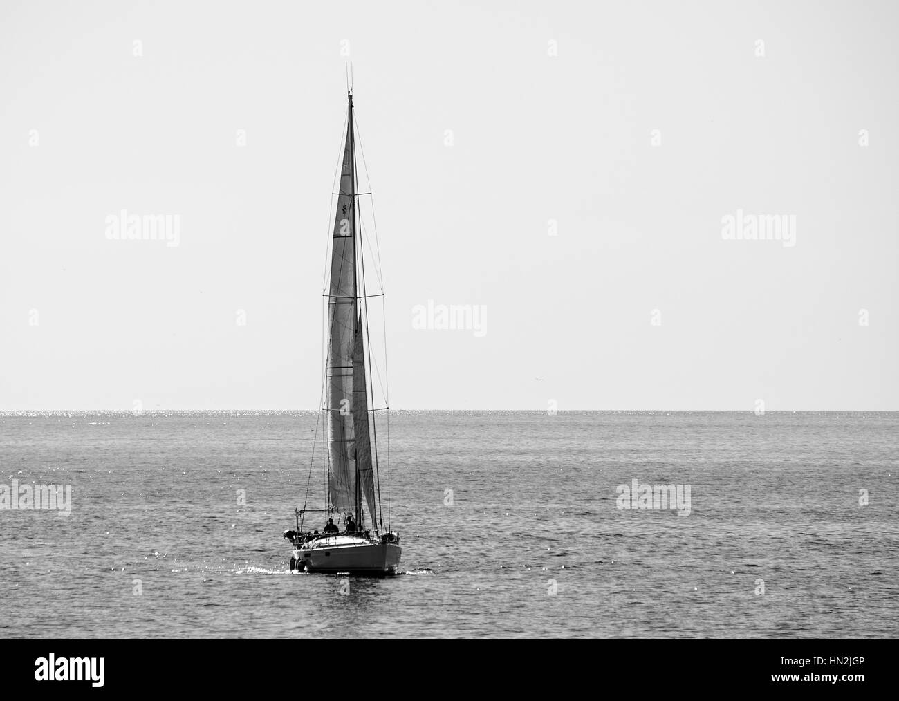 Sail Boat of Redondo Beach Pier in Black and White - Stock Image