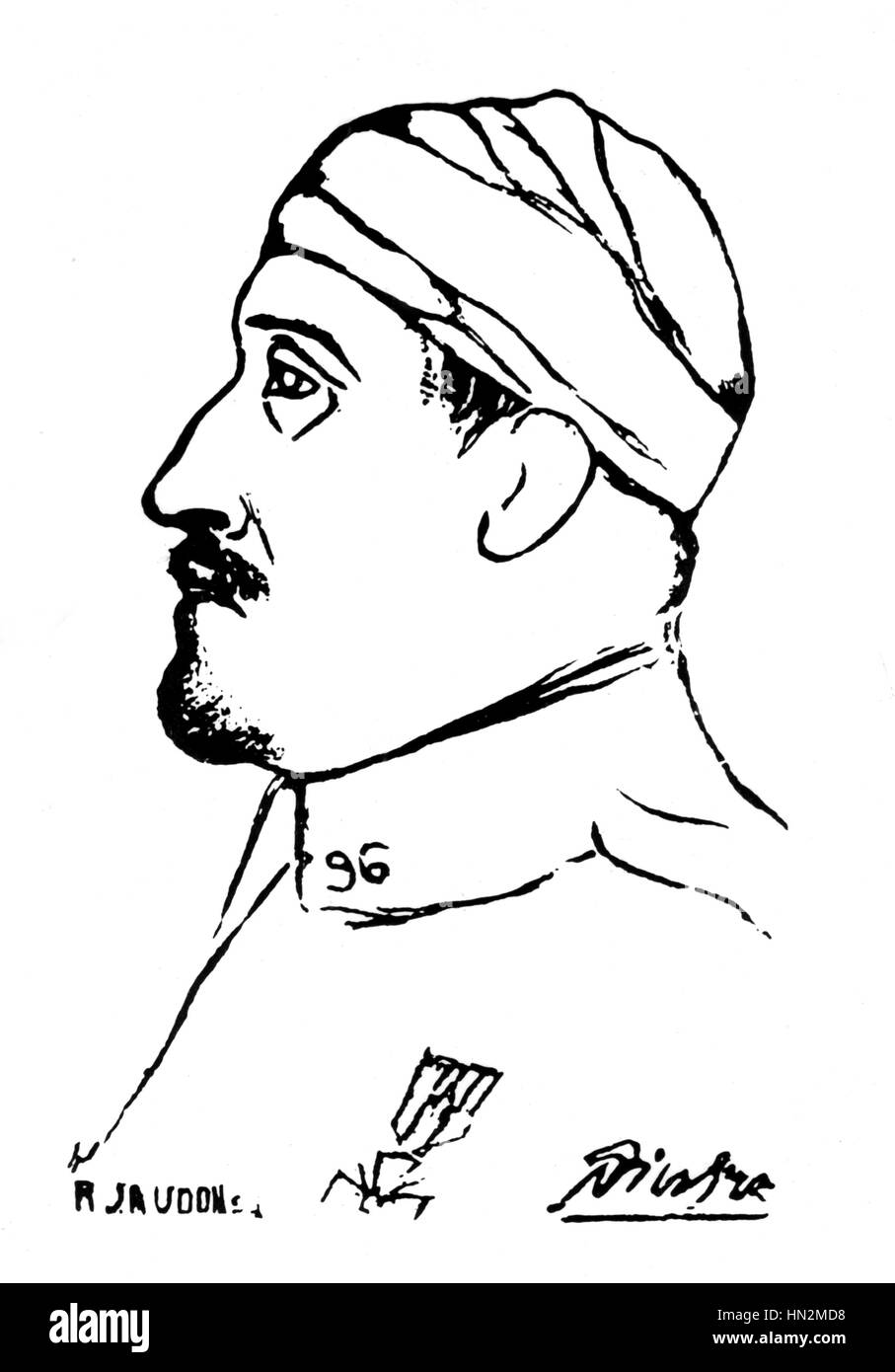 Pablo Picasso, World War I Portrait of Guillaume Apollinaire when he was wounded 20th century France If you want - Stock Image
