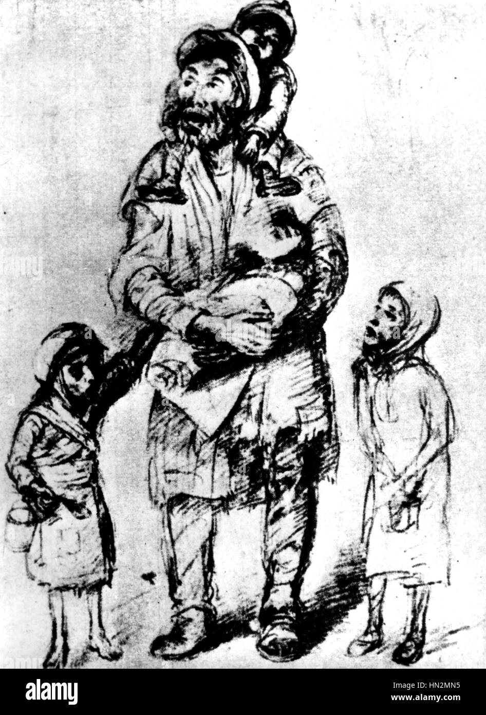 Ghetto In Warsaw Drawing By Roman Kramsztyk Who Lived In