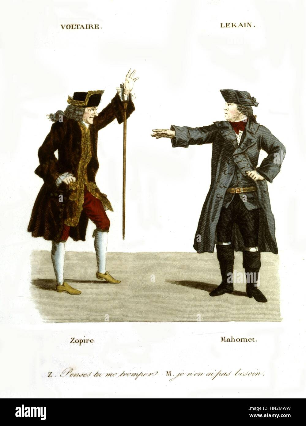 Colored engraving after Foesch and Whirsker. Voltaire playing the part of Zopir, and Lekain playing the part of - Stock Image