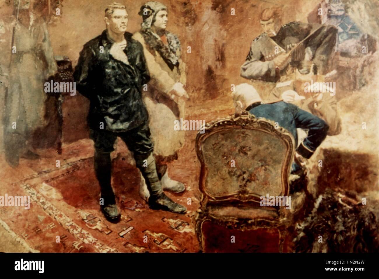 B. Logandon Russian school Communists being questioned 1933 Saint Petersburg, Russian Museum - Stock Image