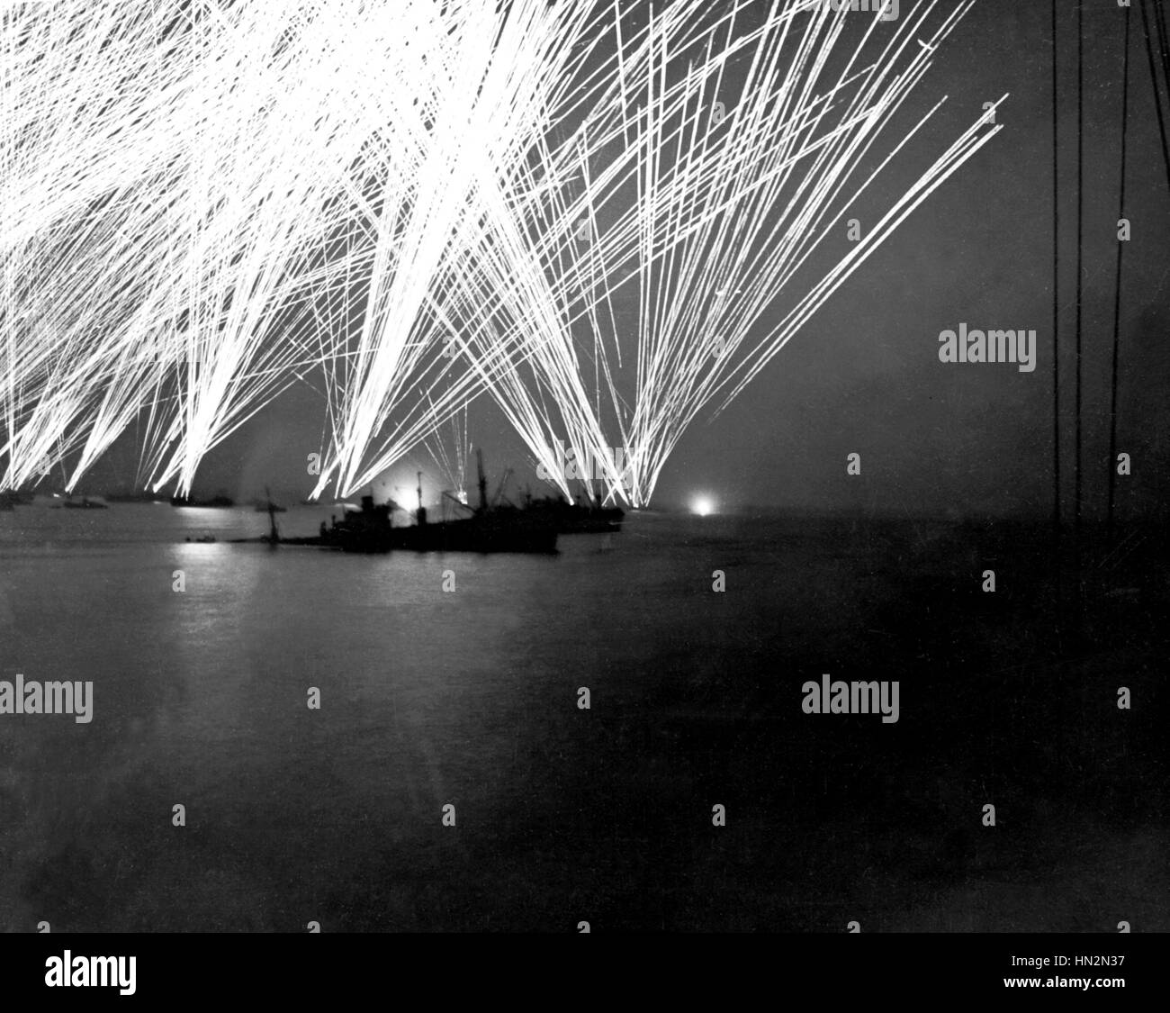 Normandy landings, France The Germans attacking Cherbourg by night, after the Normandy landings June 1944 France - Stock Image