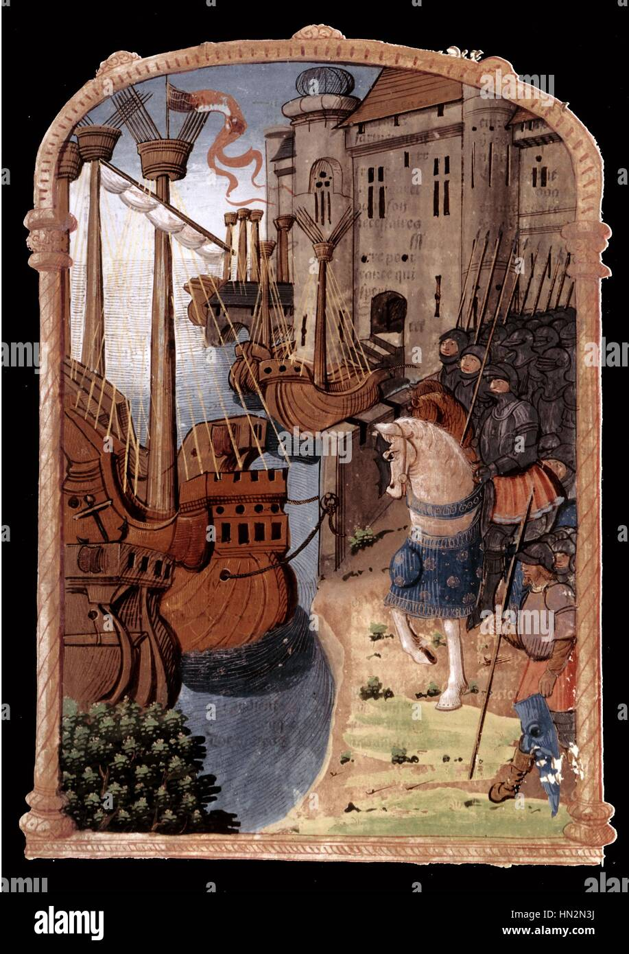 Chronicles of Jean Froissart (c.1337-c.1400): Hundred Years War, landing France, 14th century Paris - Bibliotheque - Stock Image