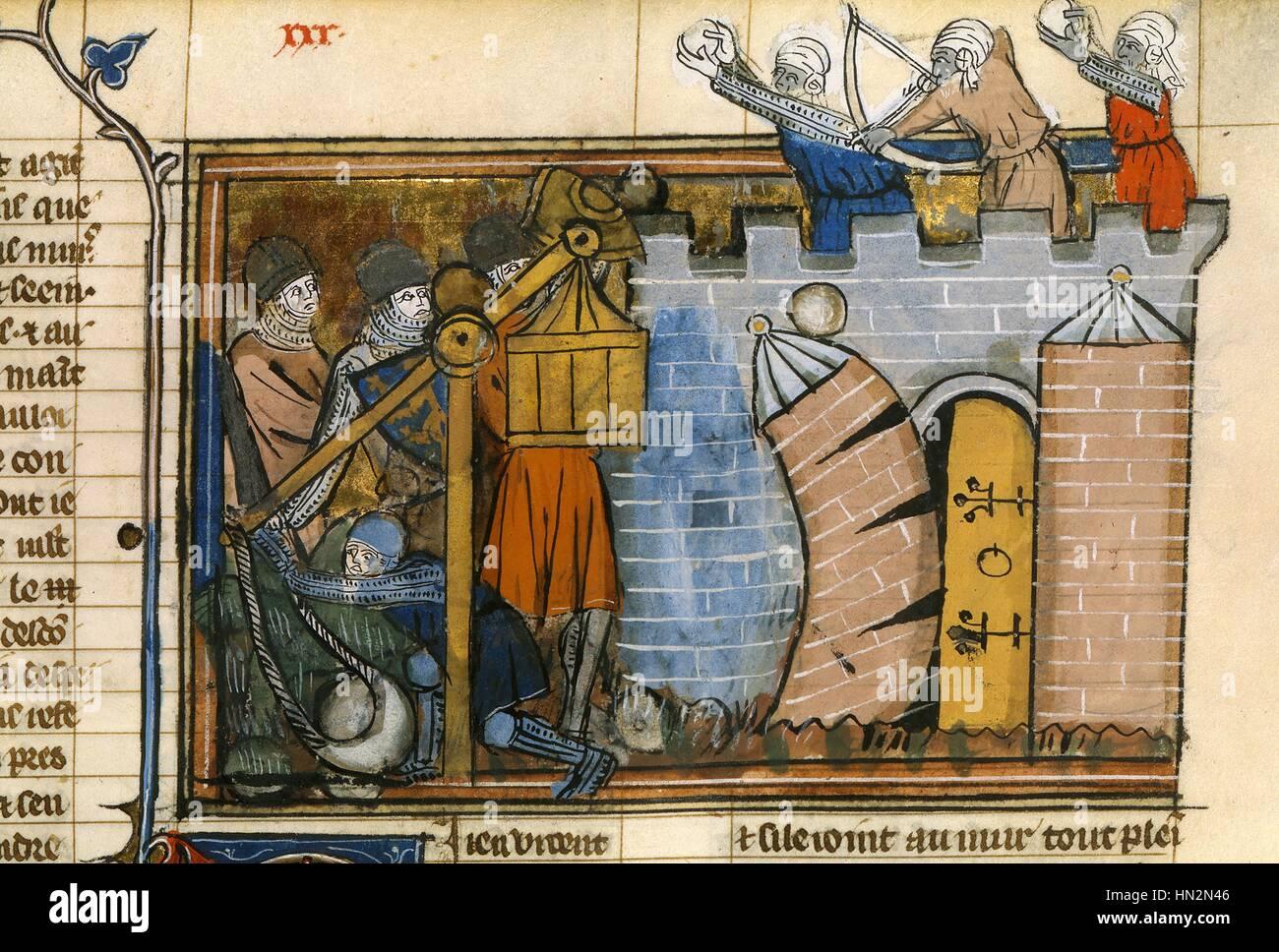 1st Crusade (1096-1099). The Romance of Godfrey of Bouillon (Le Roman de Godefroy de Bouillon). The capture of Jerusalem. - Stock Image