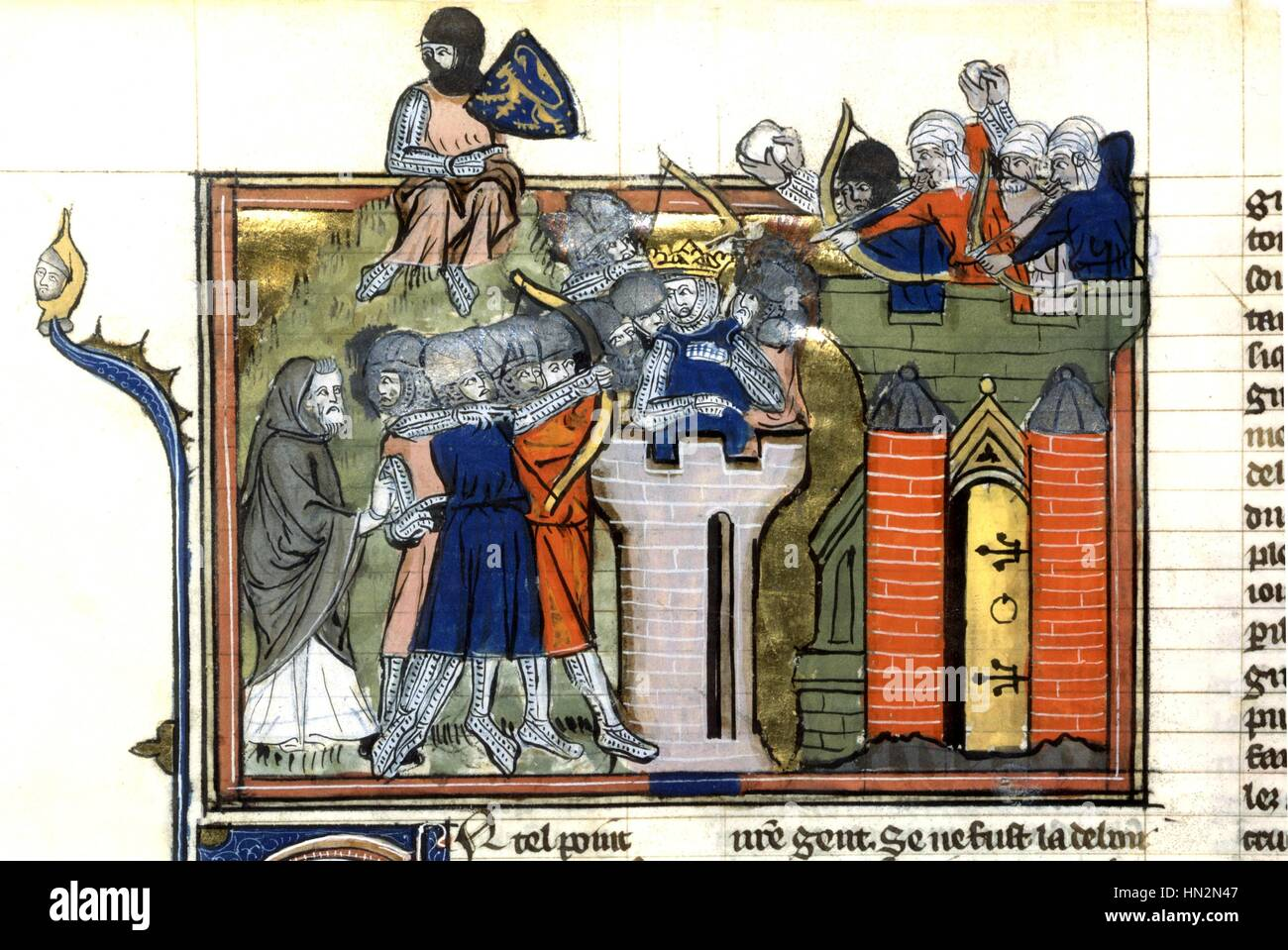 1st Crusade (1096-1099). The Romance of Godefroy de Bouillon Capture of Jerusalem Manuscript 14th century - Stock Image