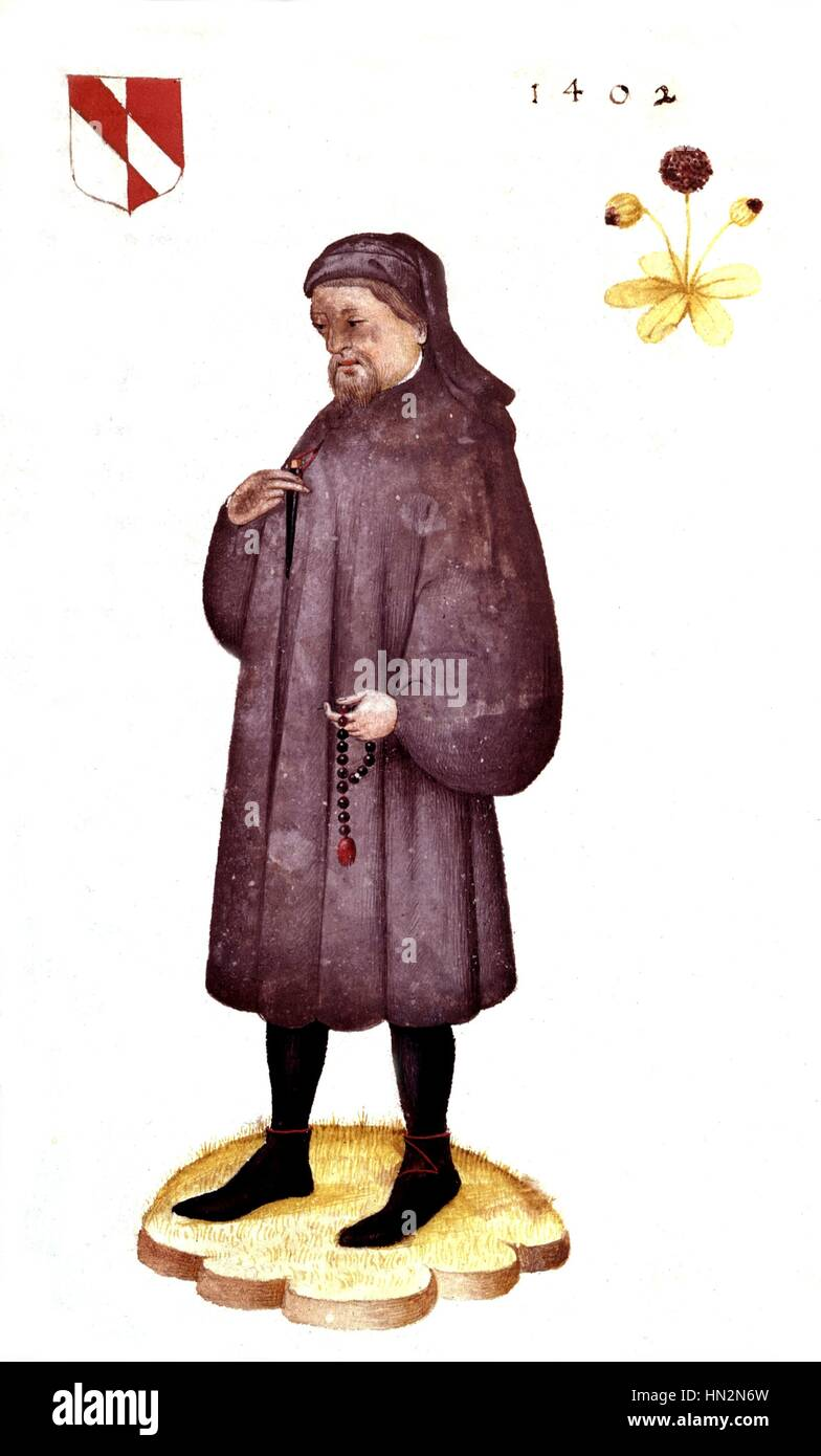 Geoffrey Chaucer (c.1340-1400) The Canterbury Tales  1402 England London, British museum - Stock Image