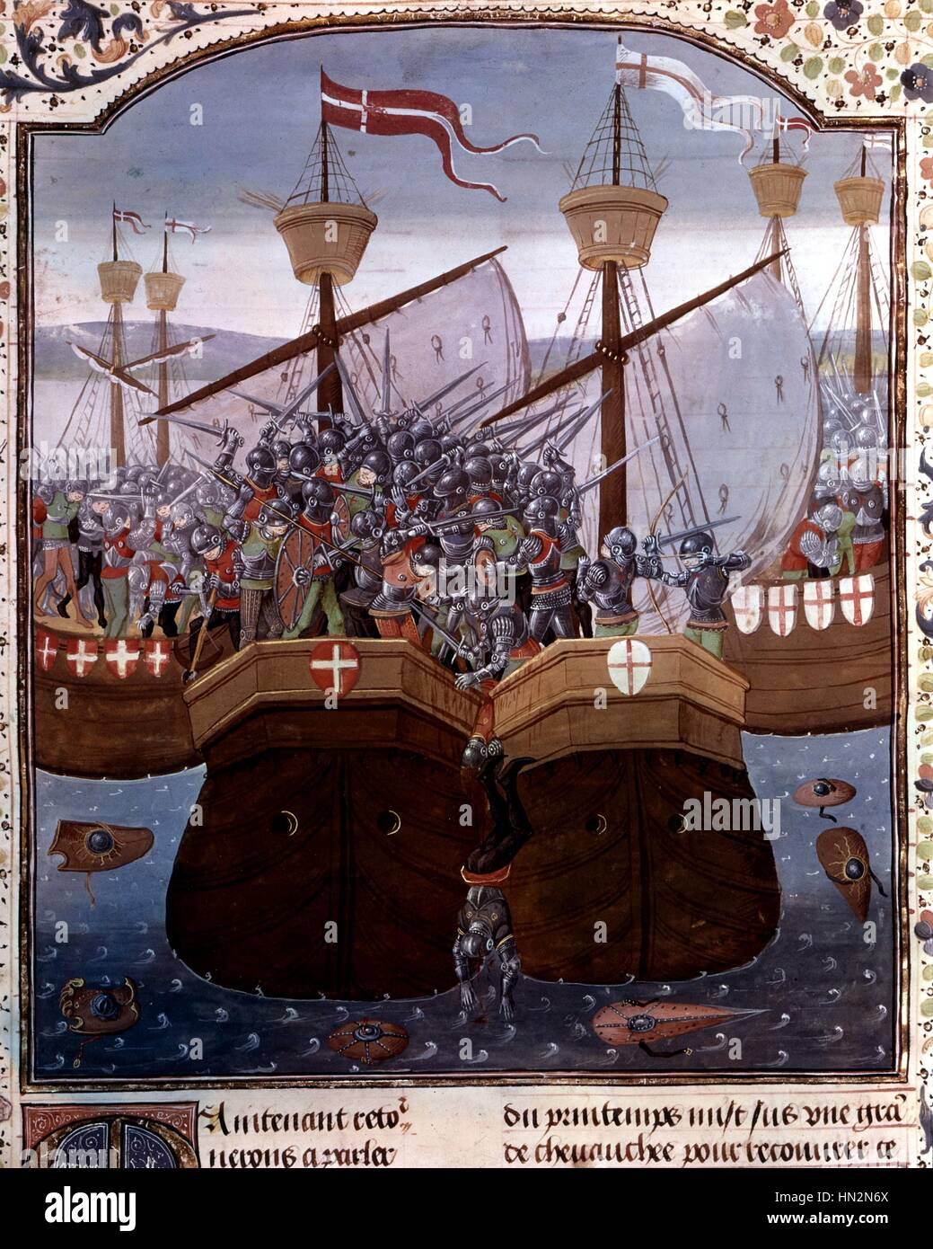 French manuscript Naval battle during the Hundred Years' War  15th century France - Stock Image
