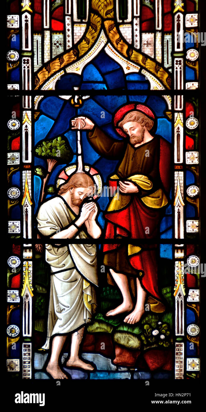 Faversham, Kent, England. St Mary of Charity parish church. Stained glass window: Baptism of Christ - St John the - Stock Image