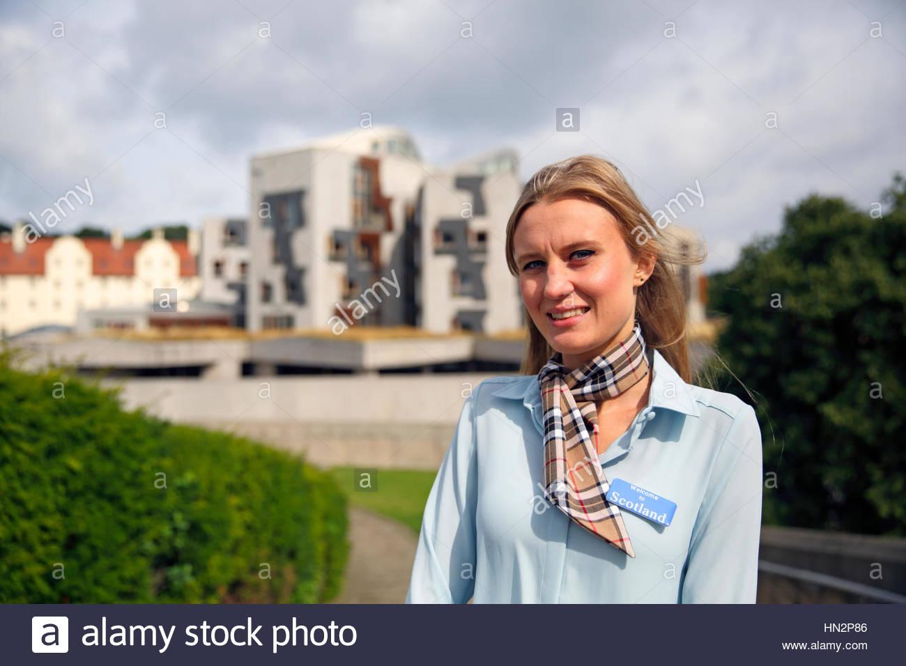 Tour guide at the Scottish parliament in Edinburgh - Stock Image