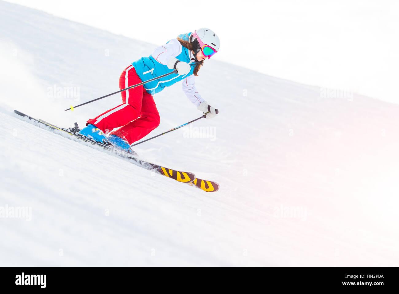 Woman Girl   Female On the Ski downhill - Stock Image