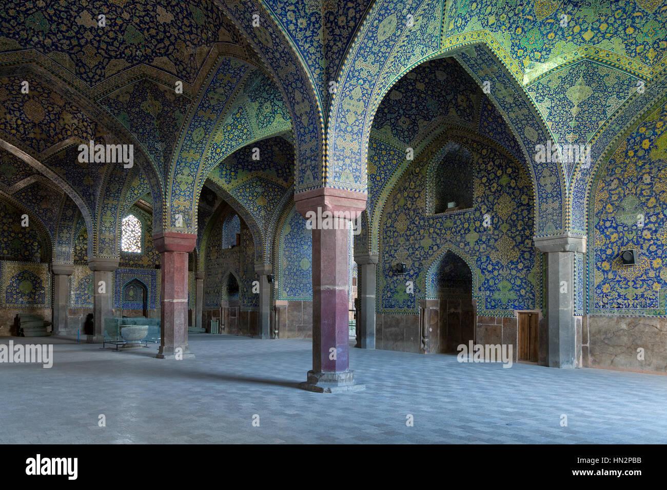 Shah mosque interior, Isfahan, Iran - Stock Image