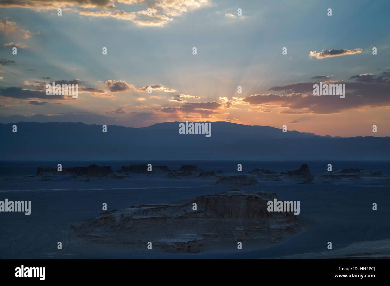 Dasht-e Loot desert at sunset, Kerman province, Iran - Stock Image
