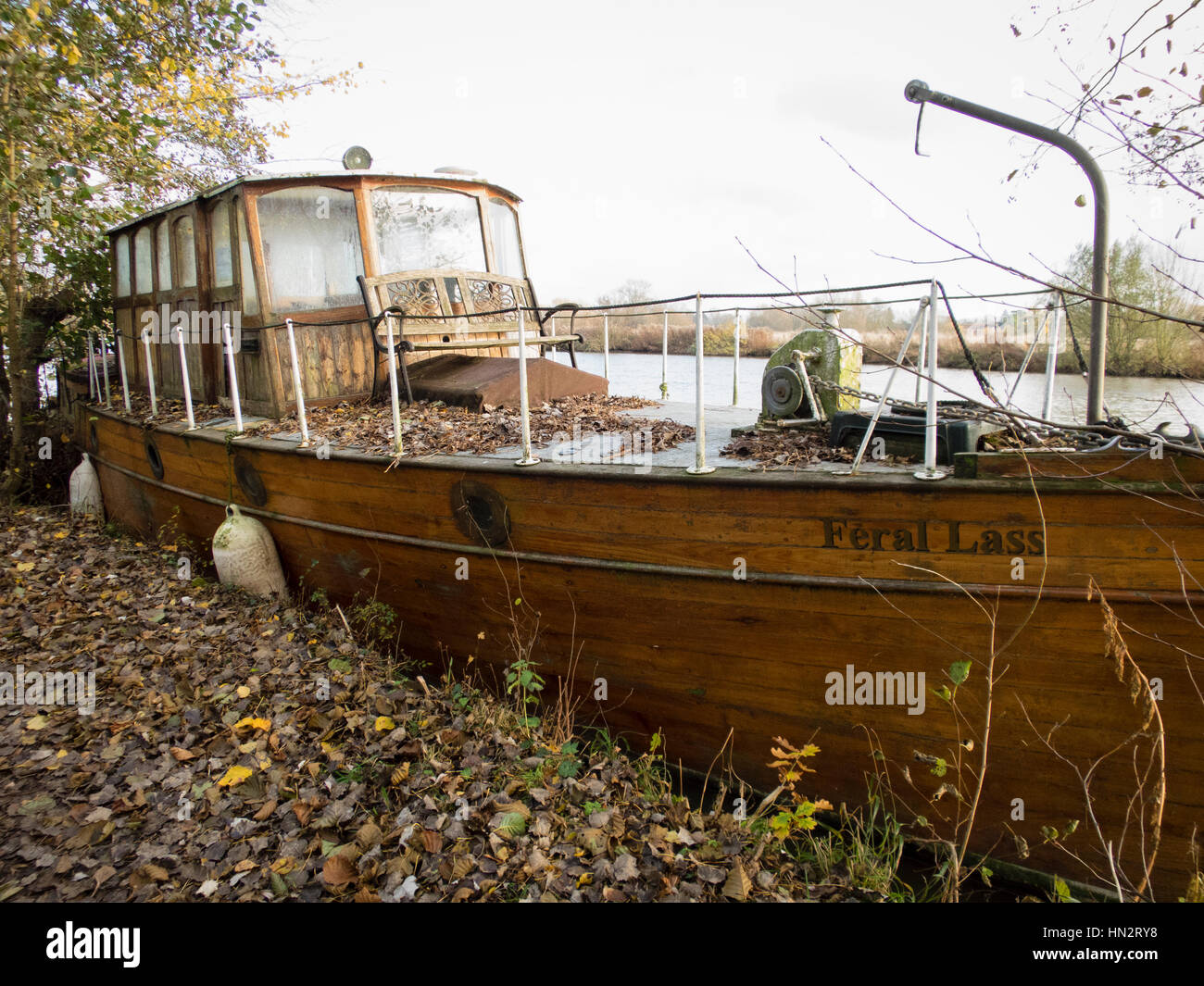 Old Boat Feral Lass Stock Photo