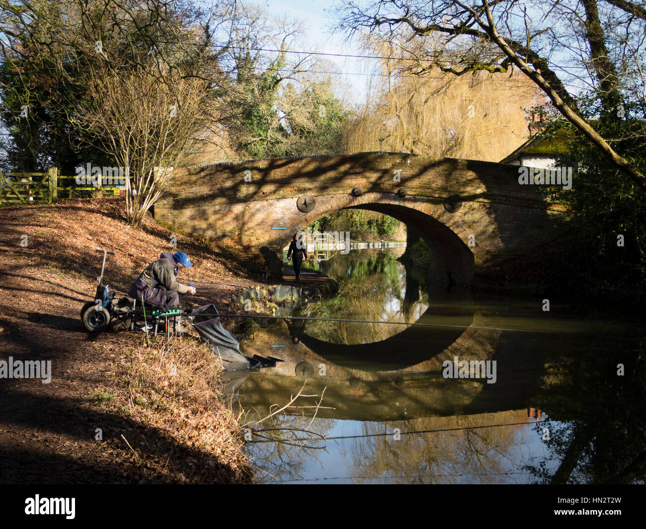 Fisherman on the Basingstoke Canal Stock Photo