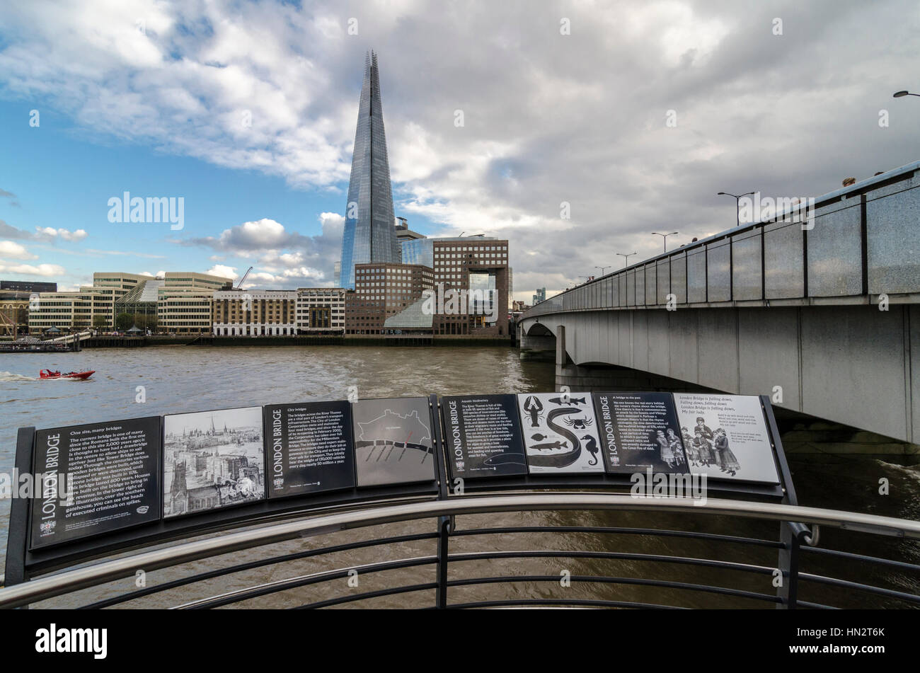 Information boards on the new steps from London Bridge to the Thames Path, London, UK - Stock Image